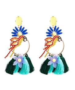 Braid Floral Bird Exaggerated Earrings