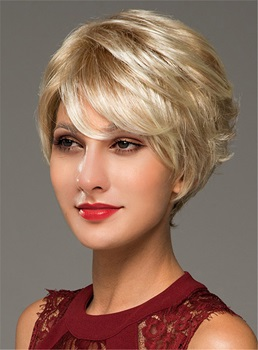 Blonde Short Layered Human Hair Blend Capless Women Wigs