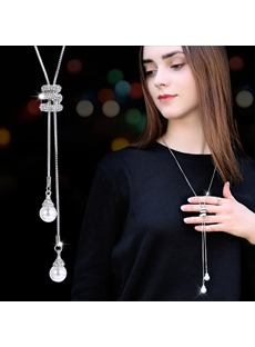 Diamante Extravagant Sweater Chain Necklace