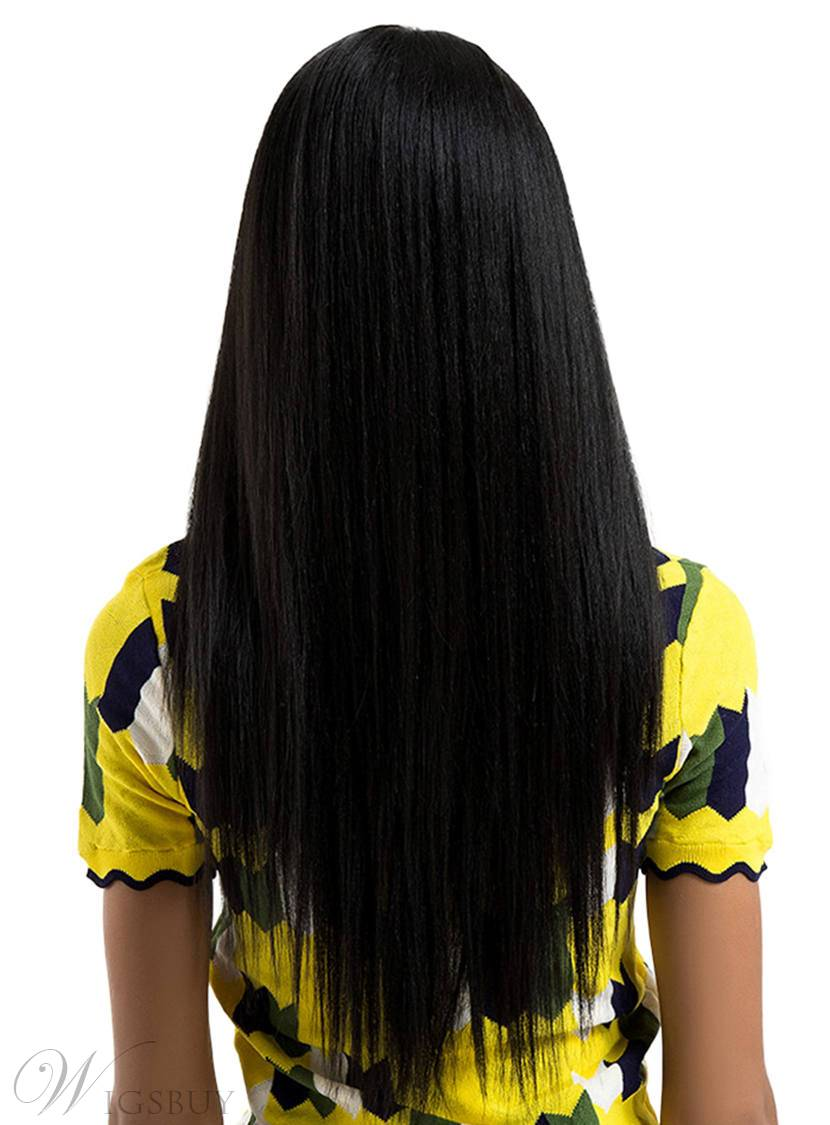 26Inches Long Straight Synthetic Hair Lace Front Cap Wig