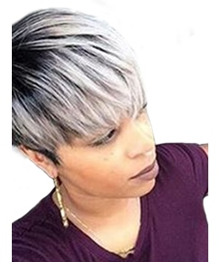 Short Type Straight Human Hair Blend Wigs 8 Inches