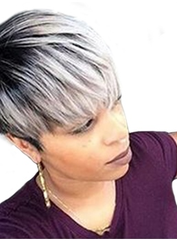 Short Type Salt And Pepper Straight Human Hair Wigs 8 Inches