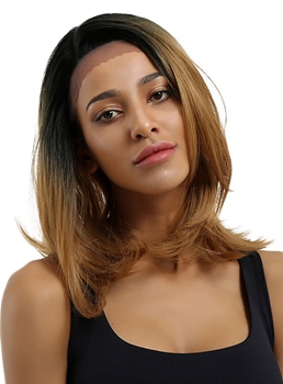 Two Tone Color Mid-Length Straight Synthetic Hair Lace Front Wig 16 Inches