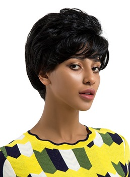 Short Natrual Straight Human Hair Blend Wigs 8 Inches