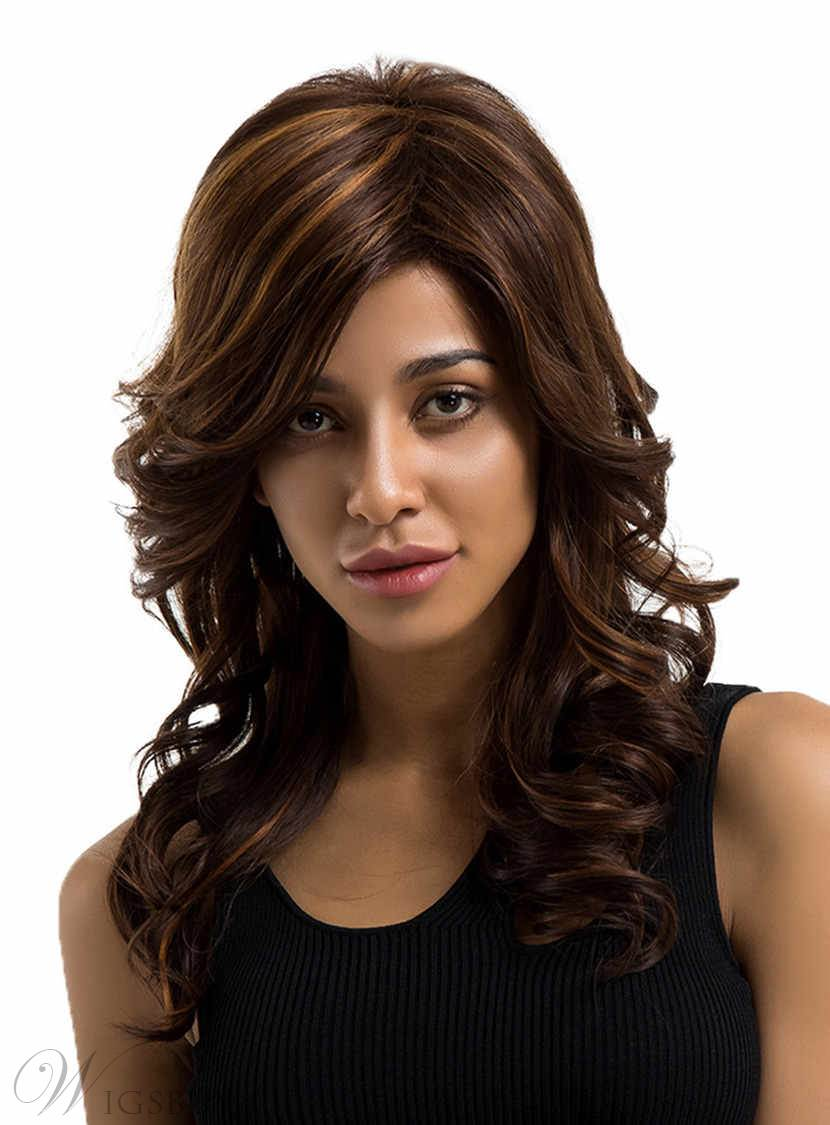 Long Wavy Human Hair Blend Wigs 18 Inches