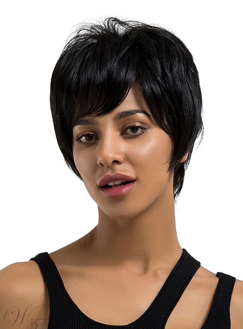 Short Straight Human Hair Blend Wigs 8 Inches