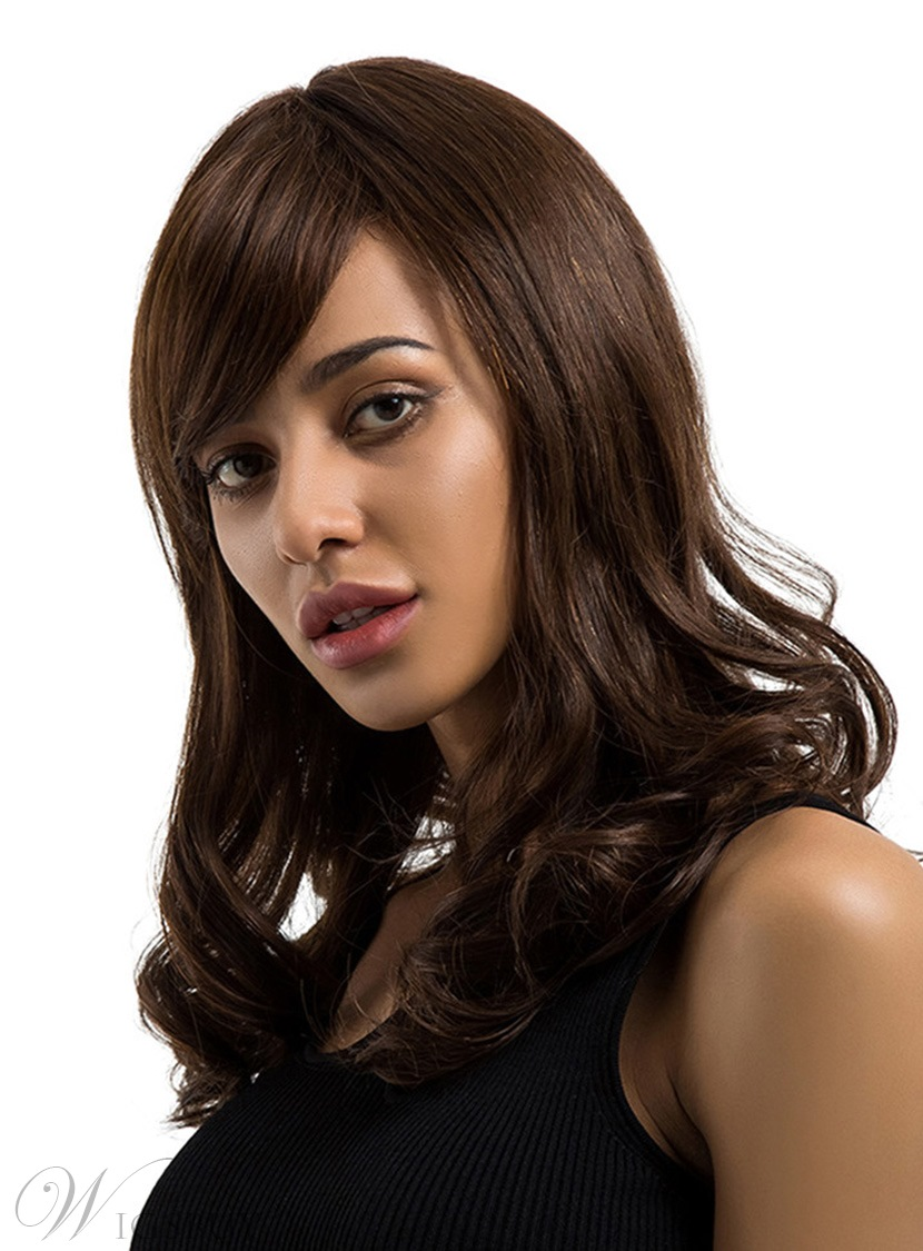 Long Natural Wavy Human Hair Blend Wigs 18 Inches