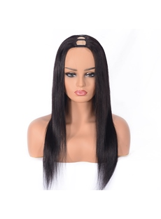 Wigsbuy U Part Silky Straight Human Hair Capless Wig 20 Inches