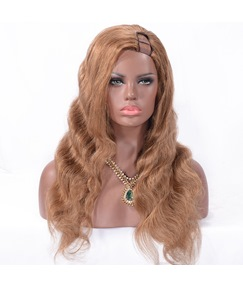 U Part Virgin Human Hair Wig Wavy Capless Women Wig