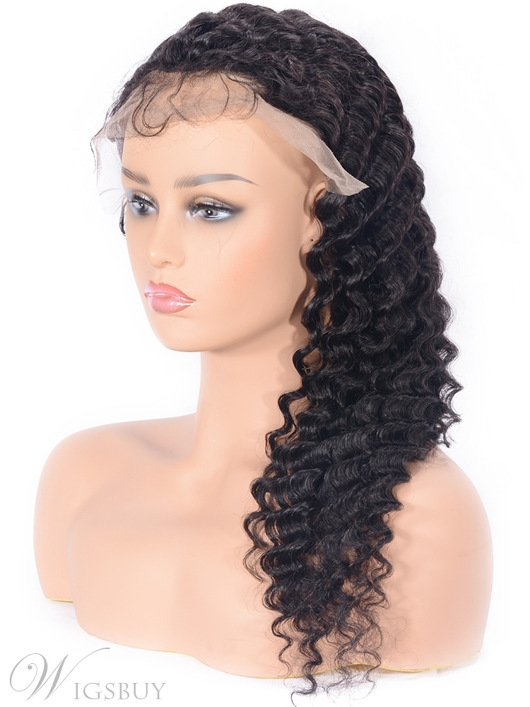Long Deep Wave Human Hair Lace Front Wigs With Baby Hair