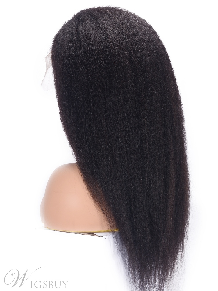 Women's Yaki Straight 100% Human Hair Wigs Kinky Straight Lace Front Cap Wigs 22Inches