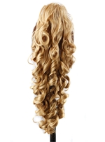 Long Natural Wave Synthetic Hair Clamping Jaw Ponytails 24 Inches