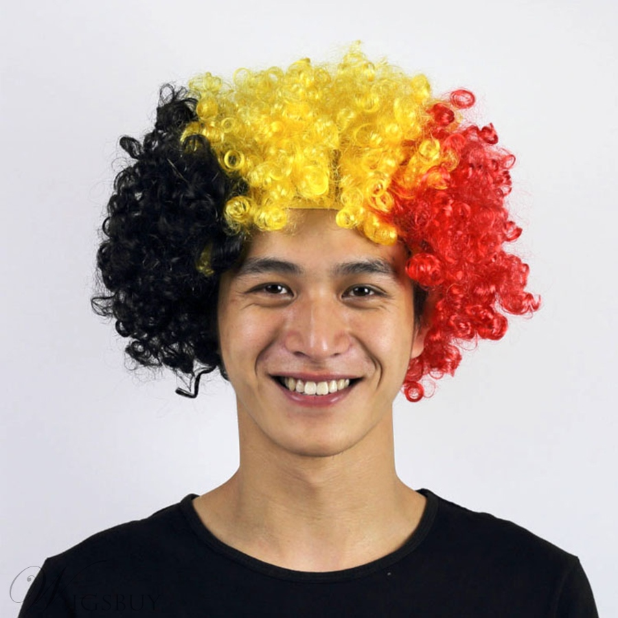 World Cup Football Fans National Flag Color Capless Wig