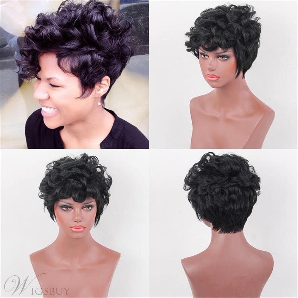 Curly Human Hair Women Capless Wig 8 Inches