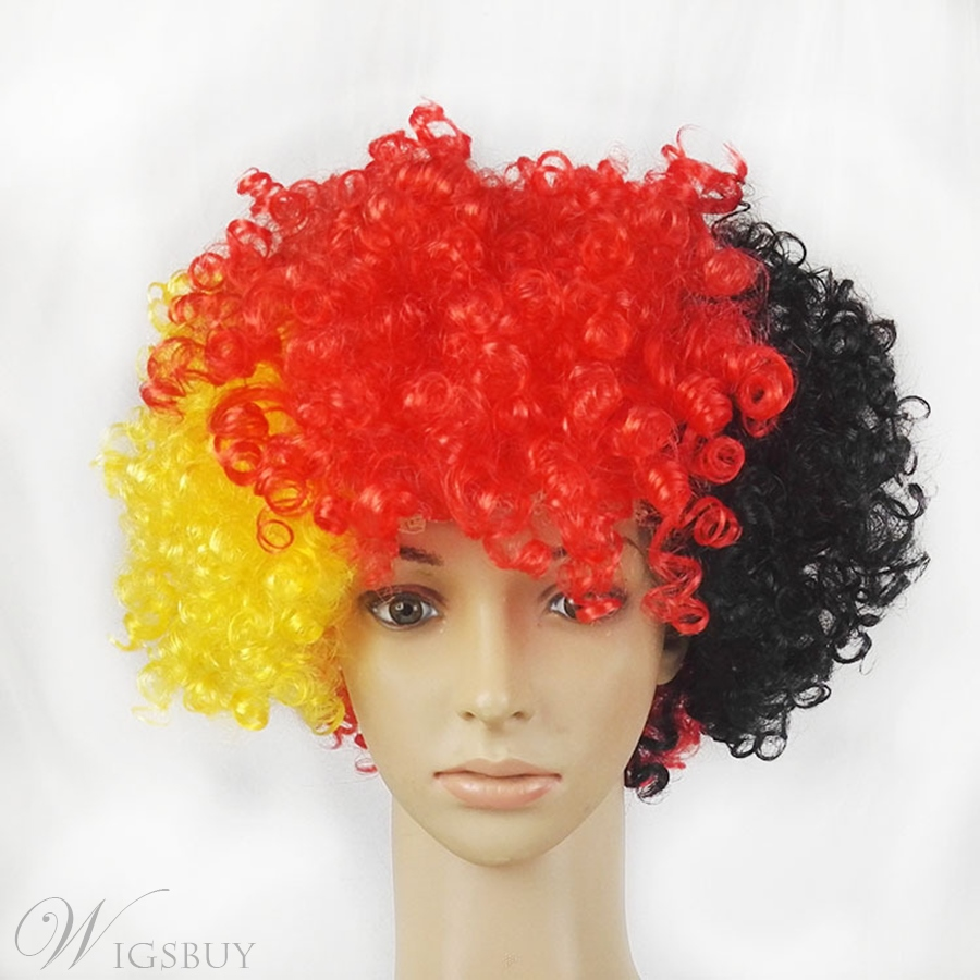The World Cup Fans Wigs Capless Cheap Curly Synthetic Hair 8 Inches