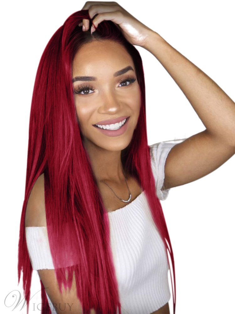 Black/Wine Red Ombre Long Straight Lace Front Synthetic Wig