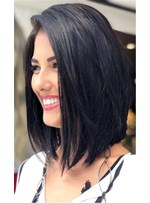Bob Style Natural Straight Human Hair Full Lace Wig 16 Inches