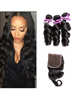 Wigsbuy Indian Loose Wave Lace Closure With 3pcs Human Hair Weave