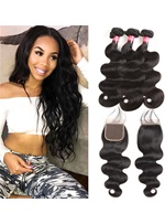 Wisbuy 3 Bundles Peruvian Hair Body Wave With Lace Closure