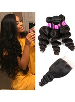Wigsbut Peruvian Hair Weave Loose Wave 3 Bundles With Closure