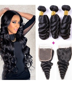Wigsbuy Hair Weave Malaysian Loose Wave 3 Bundles With Closure