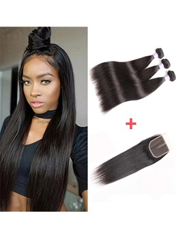 Wigsbuy 3 Bundles Malaysian Human Hair With Lace Closure