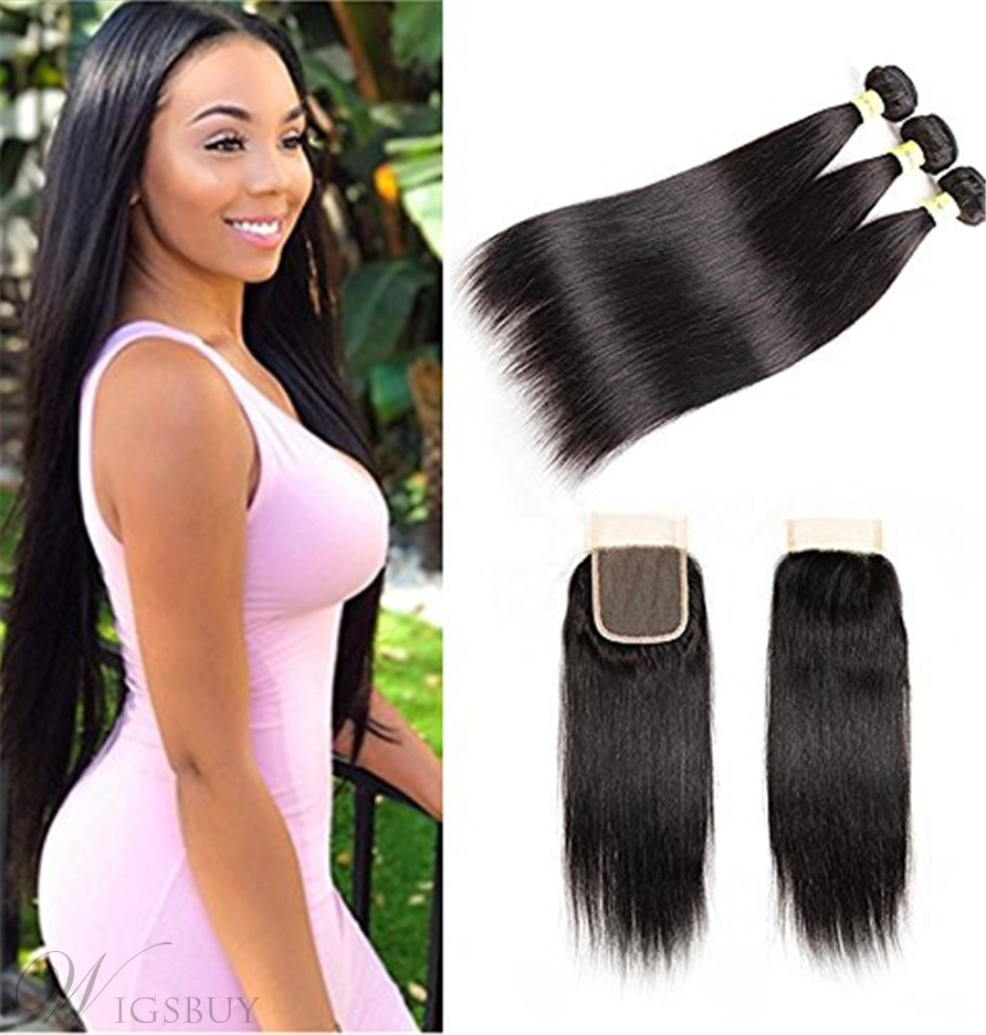Wigsbuy Lace Closure With Malaysian Straight Hair 3 Bundles