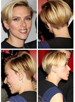 Scarlett Johansson Hairstyle Boy Cut Straight Human Hair Full Lace Wig