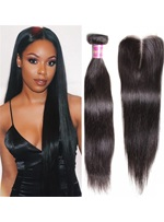 Wigsbuy 3 Bundles Cheap Indian Virgin Hair Straight With Closure