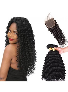 Wigsbuy 3 Bundles Malaysian Virgin Deep Wave Human Hair With Lace Closure