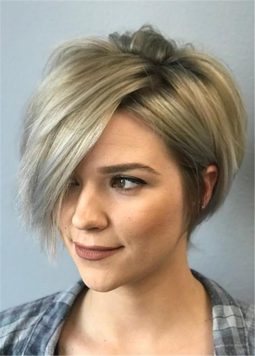 Pixie Short One Side Part Bangs Straight Synthetic Hair Capless Wigs 8 Inches