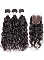 Wigsbuy Brazilian Water Wave Human Hair 3 Bundles With Closure