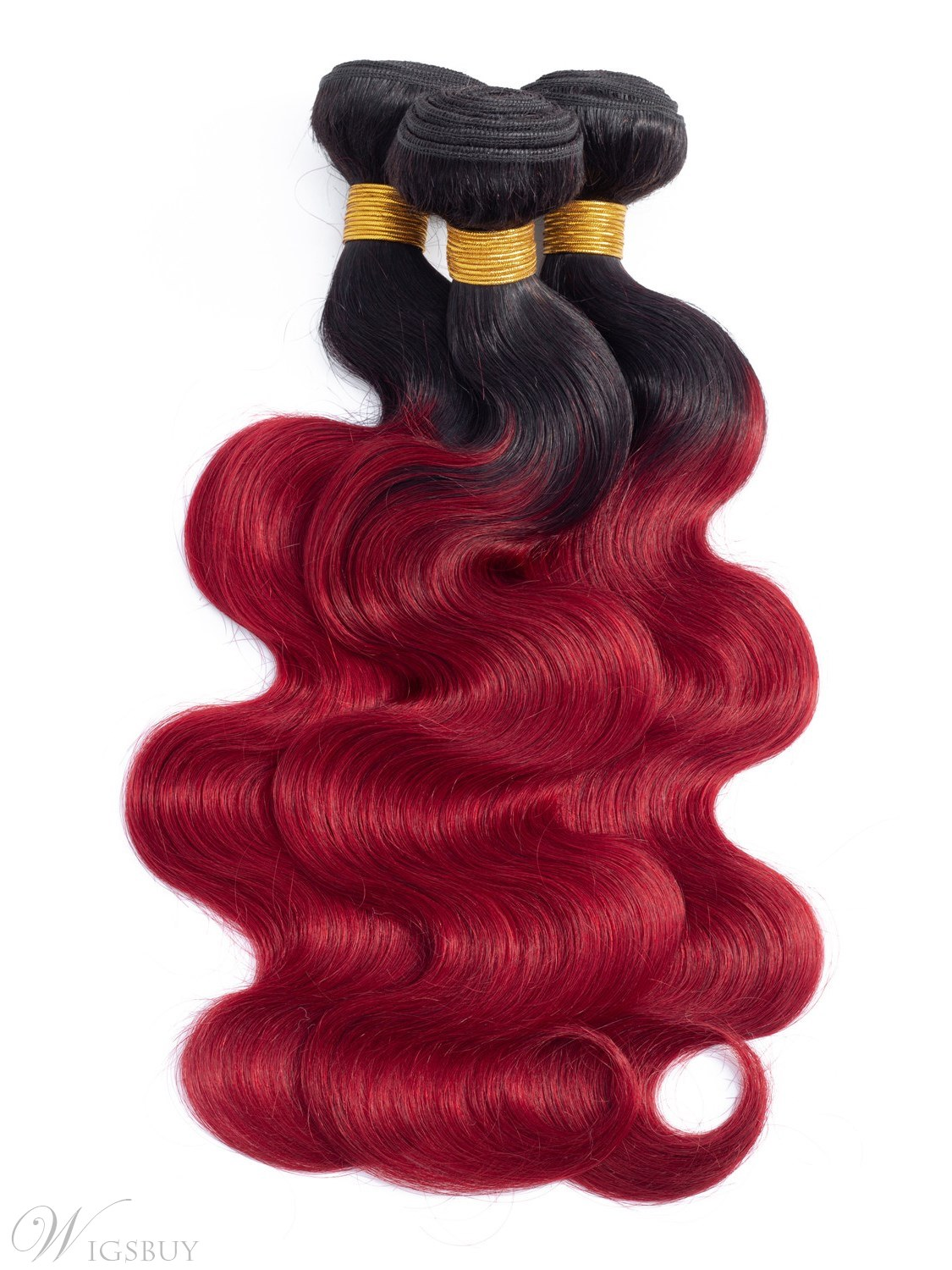 Ombre Body Wave Human Hair Burgundy 3 BundlesT1B/Red Color