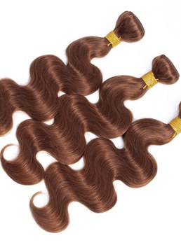 Wigsbuy Human Hair Weave Light Brown #4 Body Wave 3 Bundle Deals