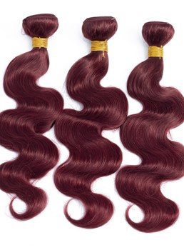 Wigsbuy Human Hair Weave Body Wave 99J Red Color 3 Bundles