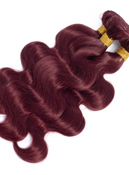 Wigsbuy Burgundy Body Wave Human Hair Extensions 4 Bundles 99J