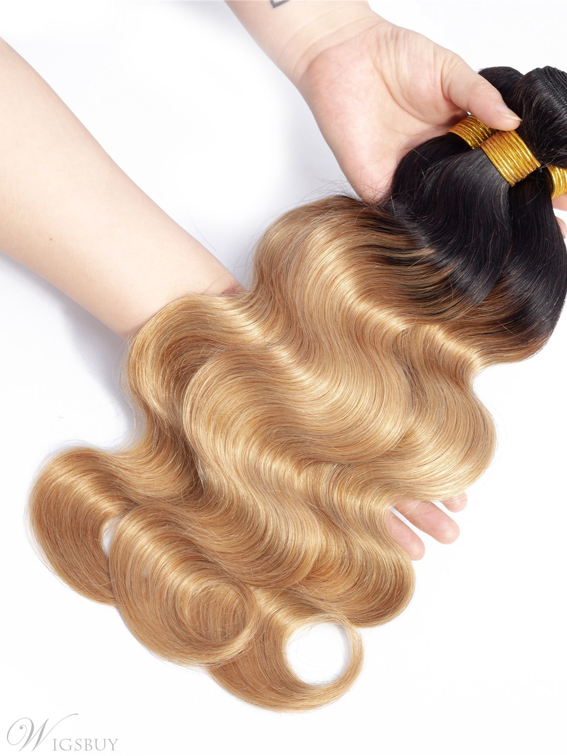 Wigsbuy Ombre Human Hair Weave Body Wave 1b 27 Honey Blonde 3PCS