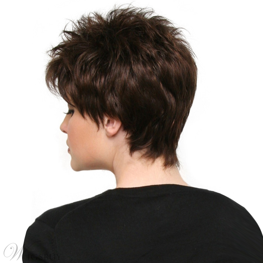 Boy Cut Hairstyle Wavy Human Hair Capless Wig 8 Inches