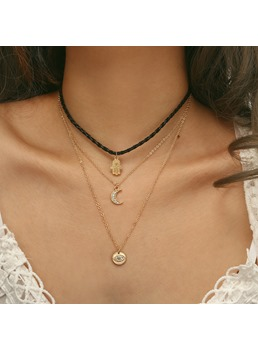 Devil's Eye Moon Multilayer Necklace
