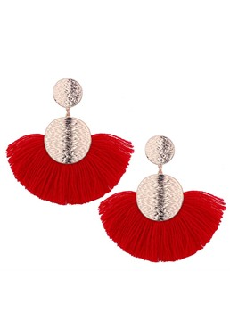 Bohemian Fan-Shaped Tassel Earrings