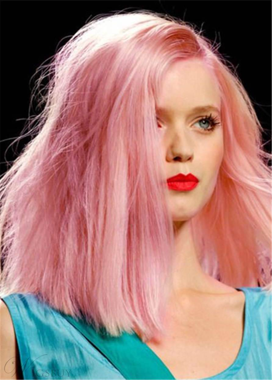 Pink Color Bob Style Mid-length Straight Human Hair Lace Front Wigs 14 Inches