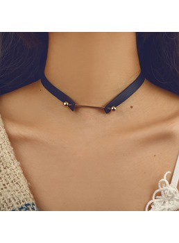 Leather Rivet Torques Choker Necklace
