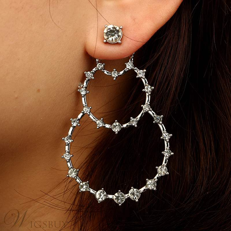 Bling Bling Round Hoop Diamante Earrings