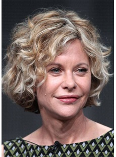 Meg Ryan Hair Cut Short Human Hair Wavy Capless Wig