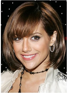 Bob Style Straight Human Hair With Bang Women Capless Wig
