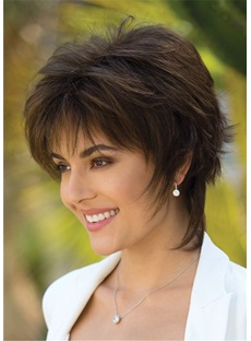 Short Layering Cut Straight Human Hair Lace Front Cap Wig