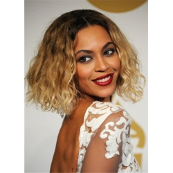 Beyonce Hairstyle Mix Color Culry Synthetic Hair Women Capless Wig
