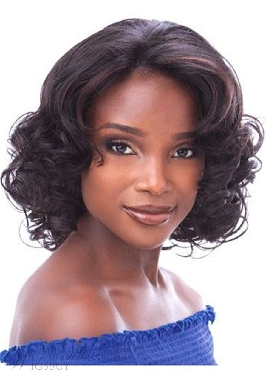 Bob Curly Layered Cut Synthetic Hair Lace Front Wig