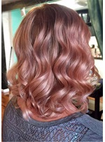 Loose Wave Dusty Pink Synthetic Hair Lace Front Wigs 14 Inches