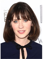 Zooey Deschanel Bob Hairstyle Synthetic Straight Capless Wig 14 Inches